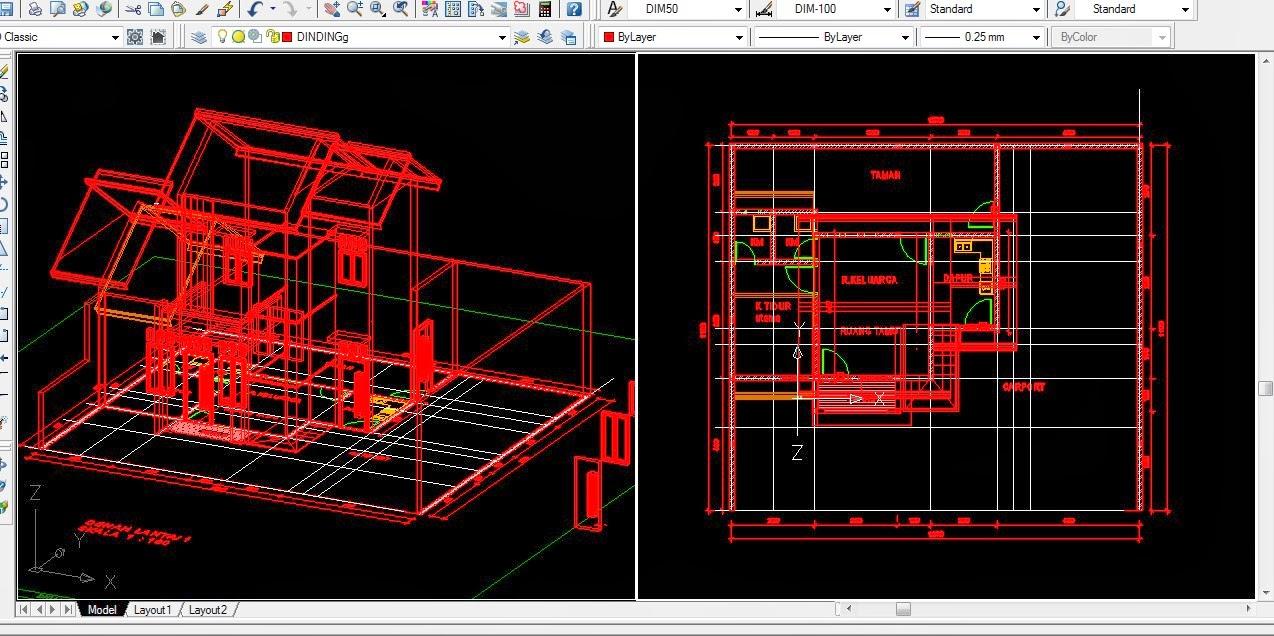 gambar kerja 3D rumah type 60