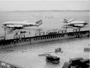 Flooded LaGuardia Airport, November 25, 1950; Photo Queens Library via . (screen shot at )