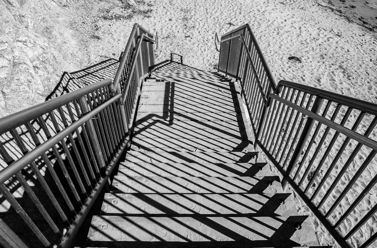Matthew G. Beall vision driven black and white Photography   The Stairs down to the Beach   Shell Beach, Calif    2013