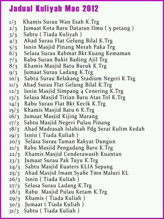 jadual kuliah ustaz azhar idrus