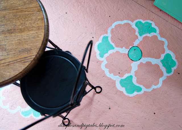 hand painted plywood floors - inspired by vintage linoleum