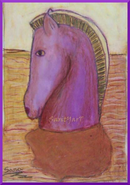abstracto cabeza de caballo con ceras blandas, contraste cromatico