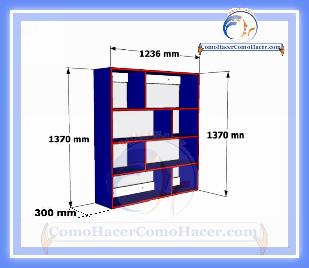 Brico diy plano mueble de melamina estante librero web for Medidas de muebles para planos