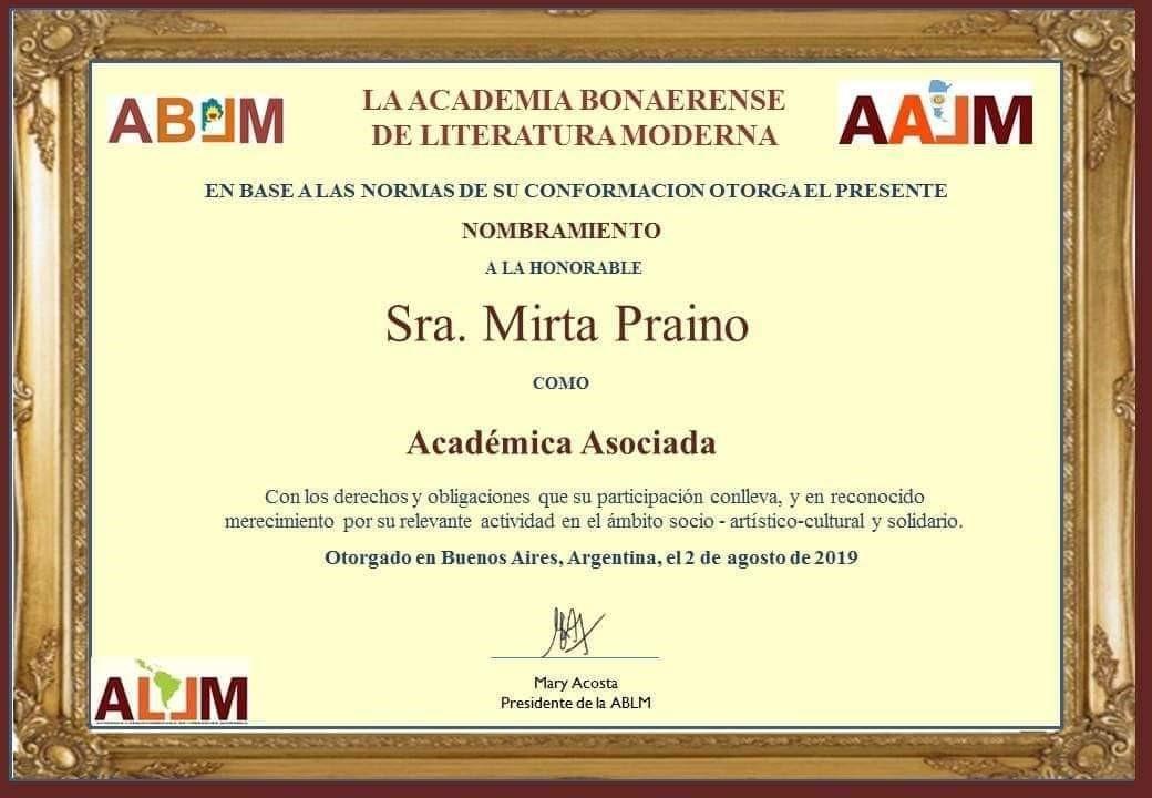 Mirta Praino Nombrada Academica Asociada a la Academia Bonaerense de Literatura Moderna