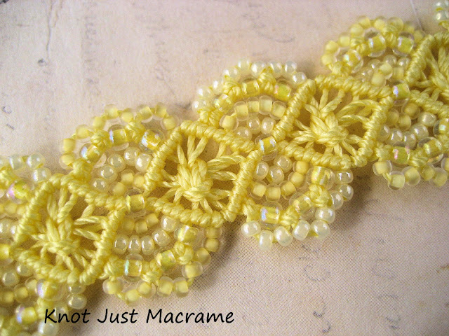 Close up of beaded micro macrame bracelet in spring yellow by Sherri Stokey of Knot Just Macrame
