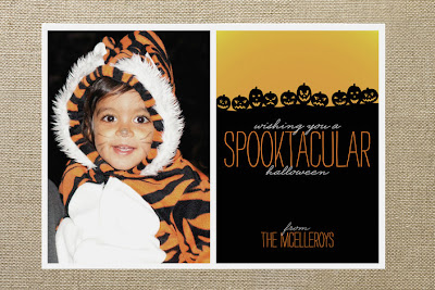 minted spooktacular  pumpkin jack-o-lantern halloween photo card design