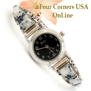 Women's White Buffalo Inlay Watch with Black Wide Rim Contemprary Face Four Corners USA OnLine Native American Navajo Jewelry