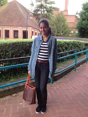 Stripes and Denim-Next denim shirt, black and white striped tee and Primark shoes, etro bag