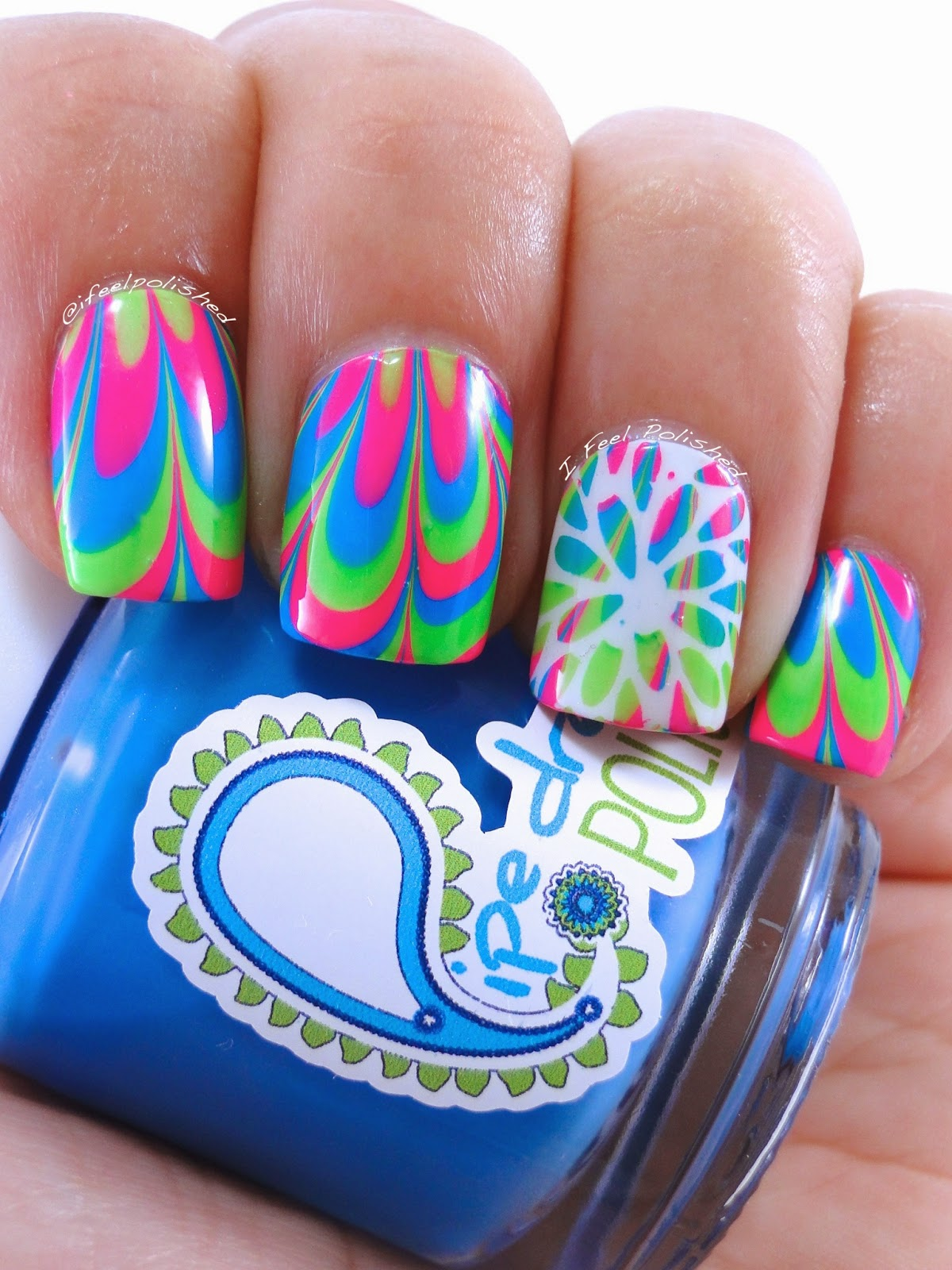 I Feel Polished!: Neon Mum Water Marble