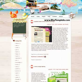 For That Weekend Away in Singapore blogger template from wordpress. blogger template for travel blog