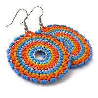купить Яркие круглые серьги из бисера, индийские мотивы