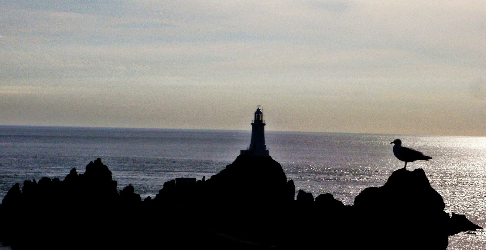 jersey, lighthouse, sunset, silhouette