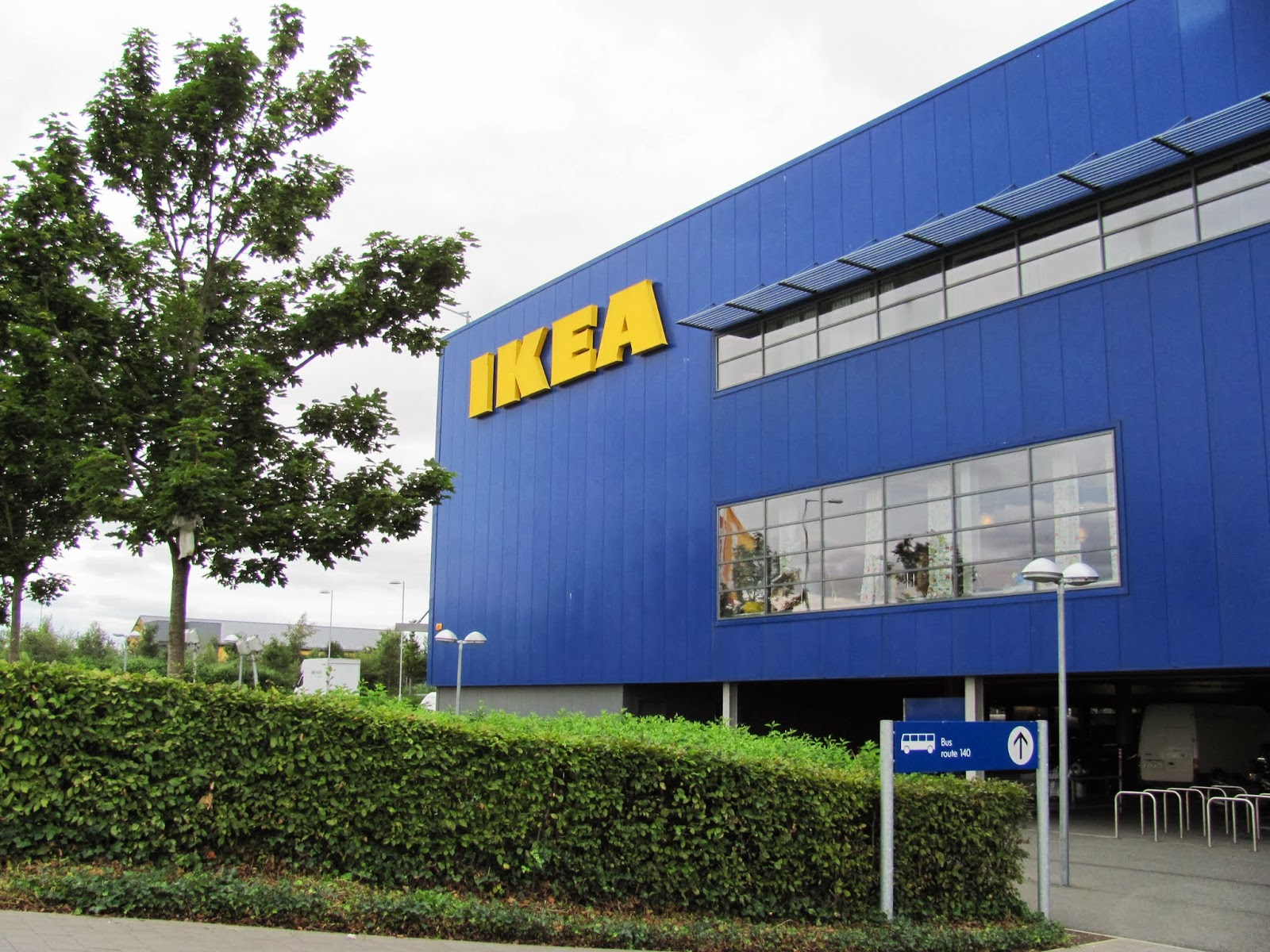 The main IKEA logo seen from the outside of IKEA in Dublin, Ireland
