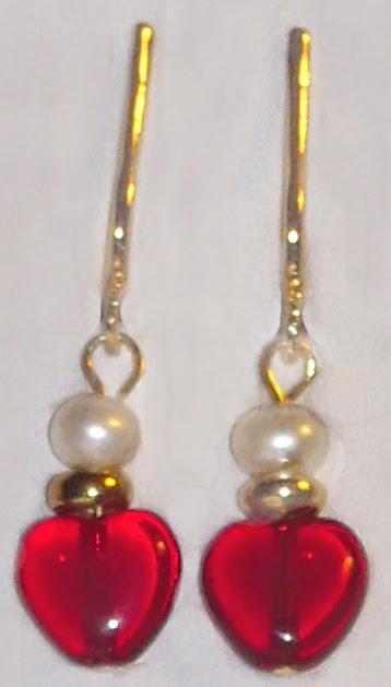 Wee Garnet & Pearl Clip on Drop Earrings