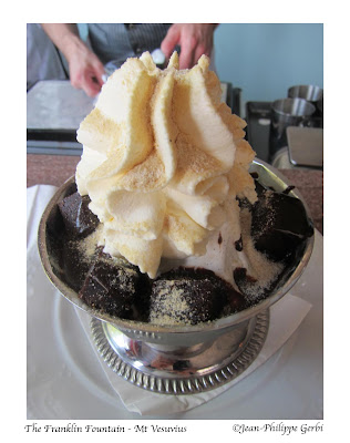 Image of Mt Vesuvius ice cream at The Franklin Fountain ice cream in Philadelphia, PA