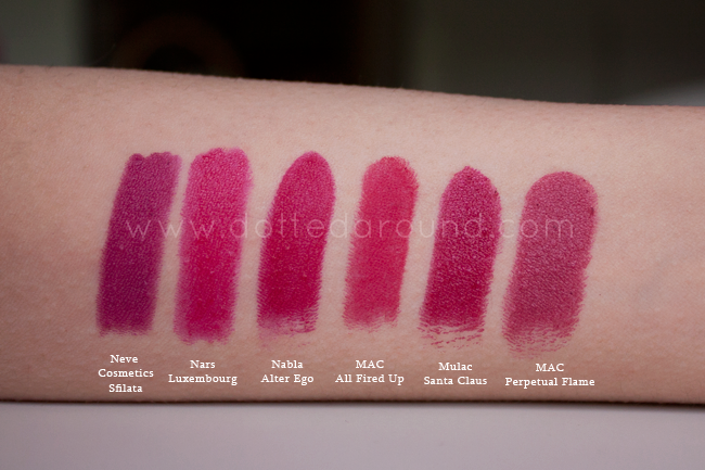 Nabla alter ego swatch rossetto all fired up mac