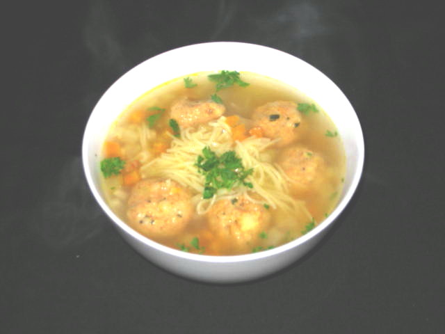The Food: Chicken and Polenta Soup Balls