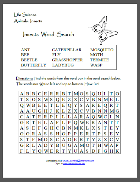 Insects Word Searches Worksheets