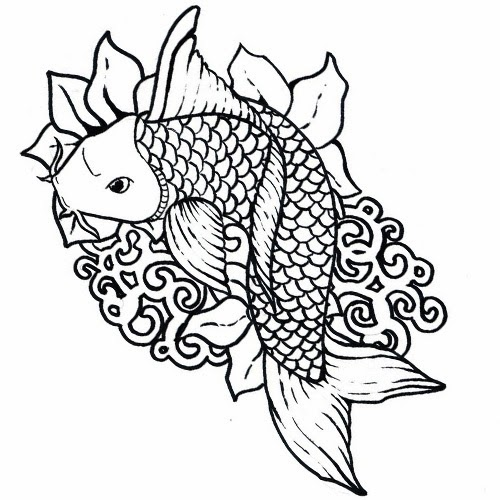 Koi fish on tribal waves tattoo stencil