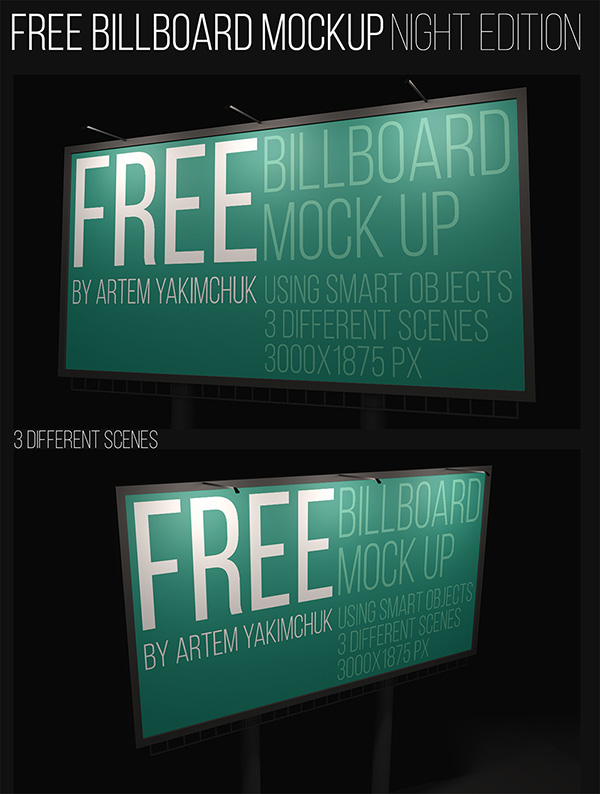 Download Poster Mockup PSD Terbaru Gratis - Free Night Billboard Mockup