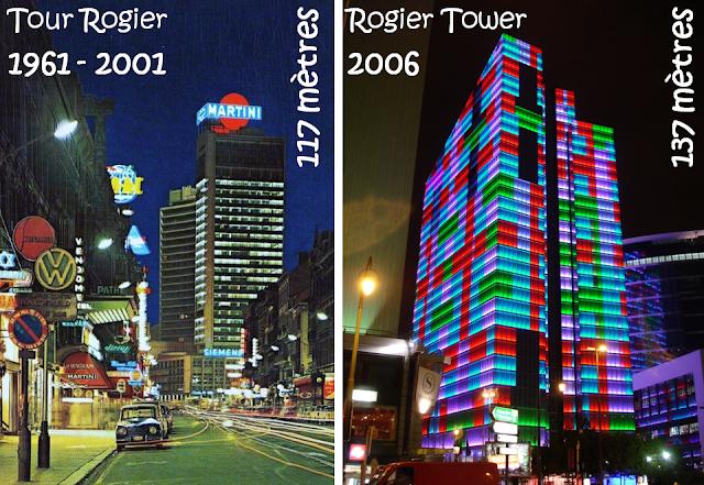 Place Rogier - Centre international Rogier-Tour Martini (1961-2001) - Rogier Tower (2006) -  Une tour prend la place d'une autre - Bruxelles-Bruxellons