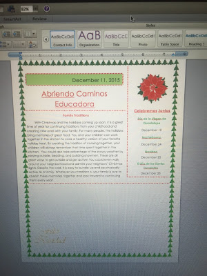 Screen shot of an educadora document the student created in Spanish