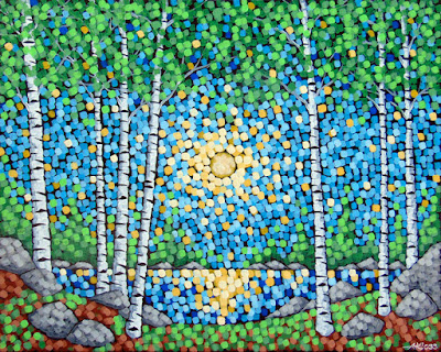Between The Trees, Sivertson Gallery, Aaron Kloss Art, Pointillism, Landscape Painting