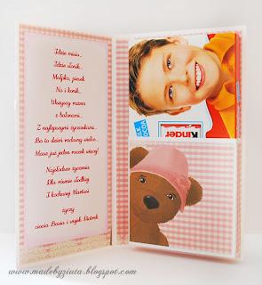 czekoladnik, opakowanie na czekoladę, kartka na urodziny dla dziewczynki