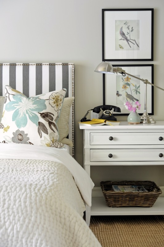 Gray and White Striped Headboard