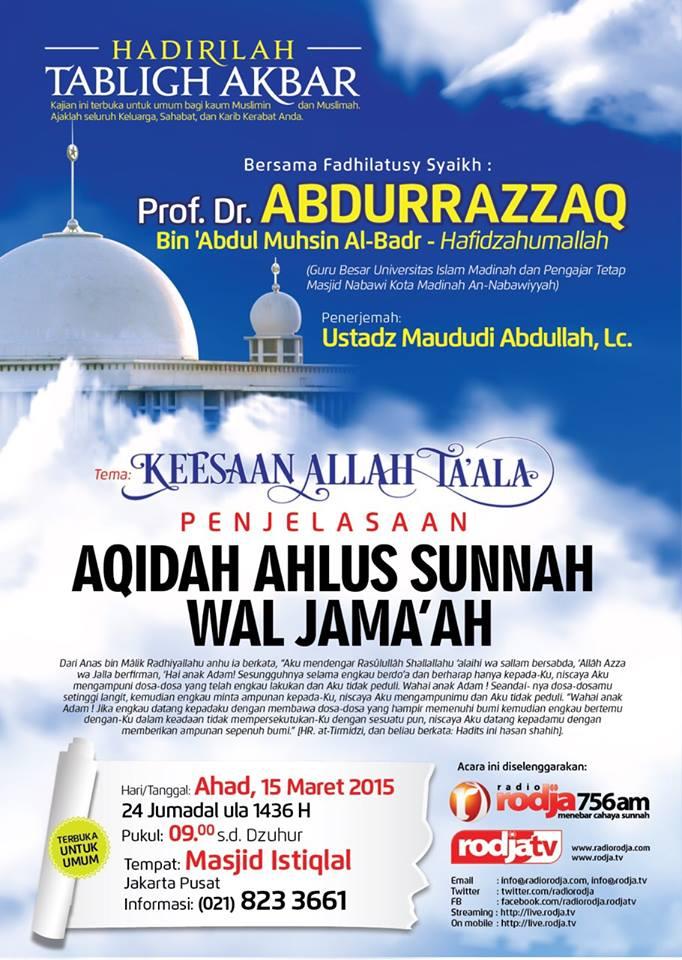 Kajian Syaikh Abdurrazaq di Istiqlal 2015