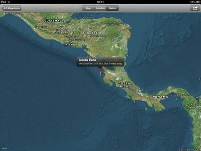 Epicentro sismo 5,8 grados Costa Rica, 05 de Septiembre 2013