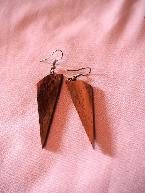 Wooden spike earrings from Nicaragua