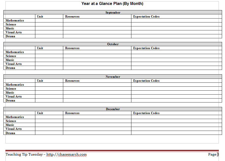 Long range plan template silent cacophony for Year at a glance template for teachers