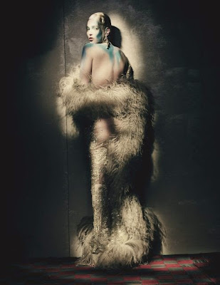 Kate Moss topless poses for W April 2015 photoshoot by Paolo Roversi
