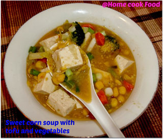 Sweet Corn Soup with Vegetables and Tofu