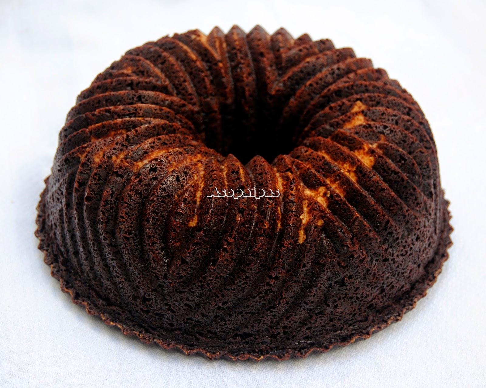 Bizcocho casero con Chocolate y Mantequilla de Cacahuete