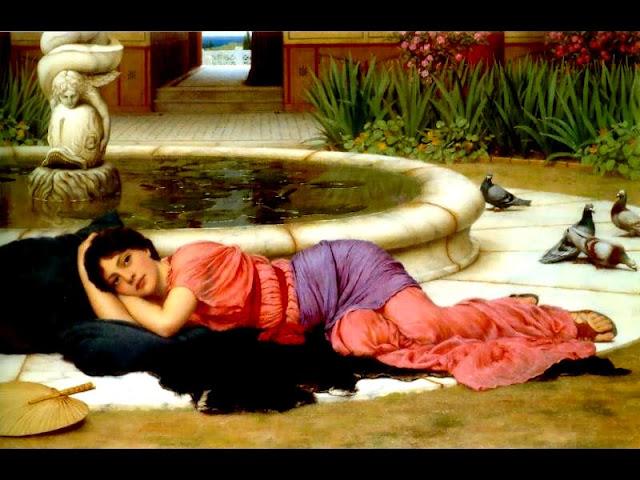 Este lienzo de John William Godward ilustra alguno de los poemas de la poeta española Maria Antonia Ricas, contenidos en su libro FANTASMAS Y CÁLAMOS, Ed. El Toro de Barro, Tarancón de Cuenca 2005