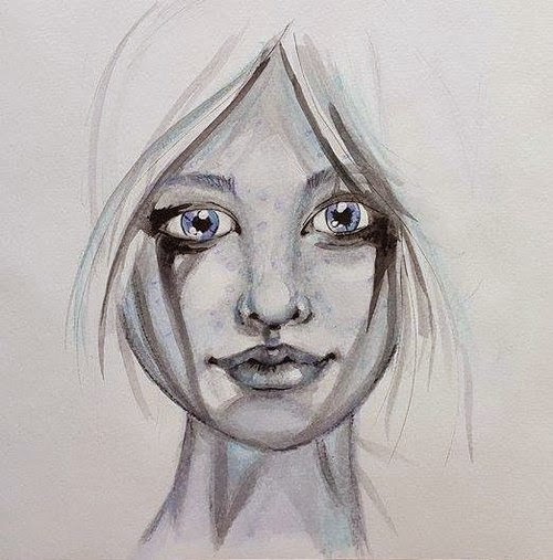 Whoopidooings: Carmen Wing Mixed Media Neocolour ii Portrait - Face in my sketchbook