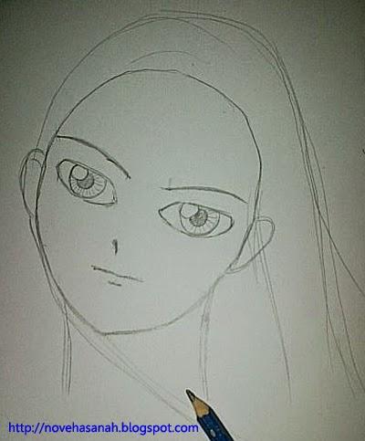 gambar sketsa outline rambut bagian atas kepala dan buat helaian rambut agar terlihat alami tergerai