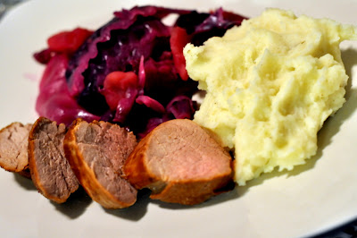 Beer-Marinated Pork Tenderloin with Red Cabbage and Mashed Potatoes - Photo by Taste As You Go