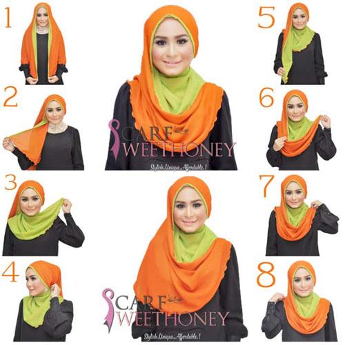 cara memakai hijab scarf 2 warna