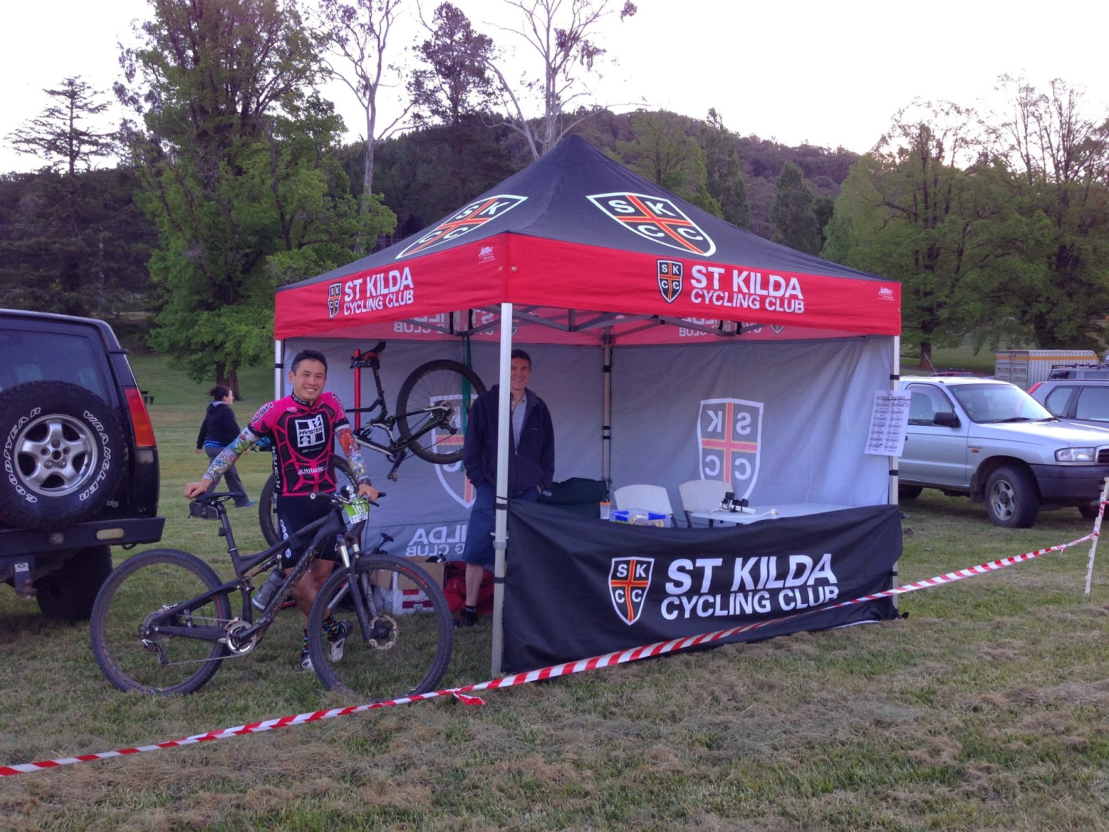 The SKCC team tent and part of the team getting ready for the next lap & Thule Bright 24 Mountain Bike Race | VonRider