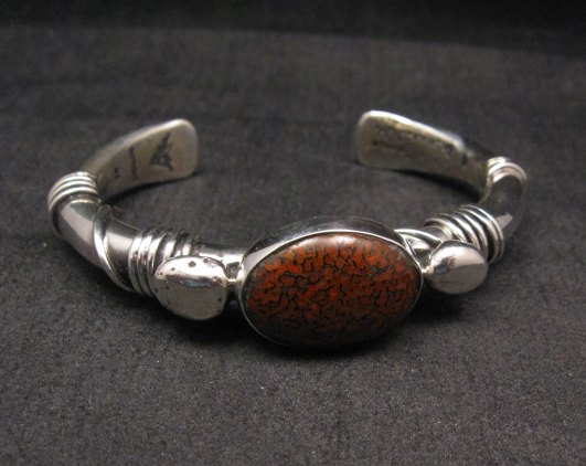 Navajo Native American Orville Tsinnie Dinosaur Bone Silver Bracelet