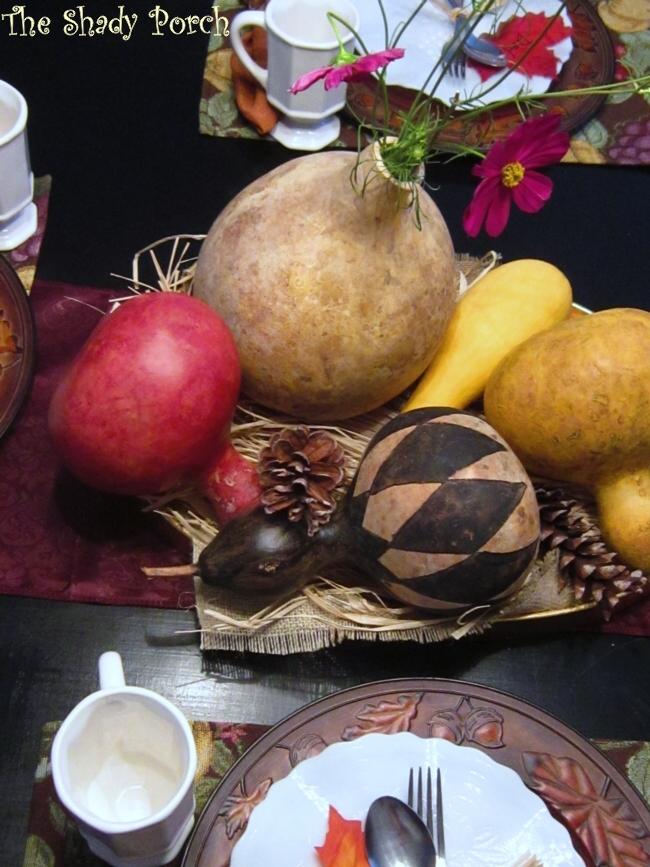 Gourd Centerpiece #gourds #tablescape #centerpiece #pinecones #flowers