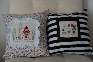 Embroidered pillows by Cicely Ingleside Blog