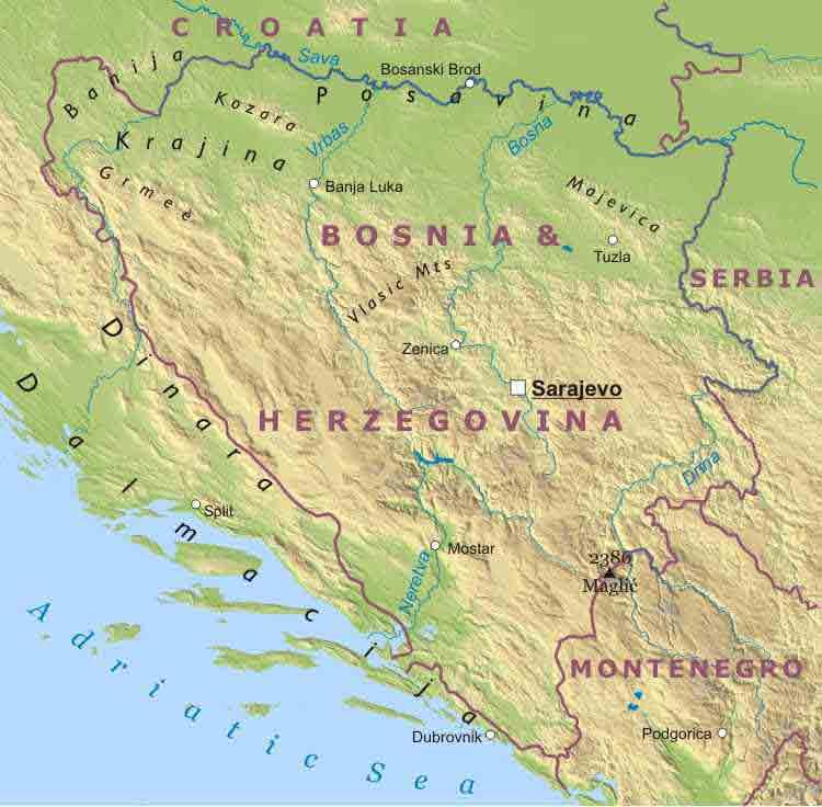 Mappa di bosnia regionale geografia mappa del mondo - Mappa di ungheria ed europa ...