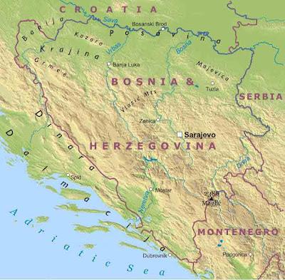 Mappa di Bosnia Regionale Geografia