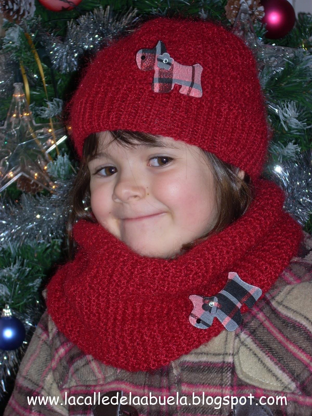 La calle de la abuela  Gorro y cuello a tricot para niña 7e1f4d6f5a6