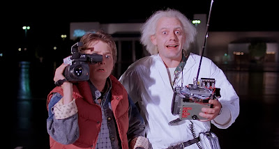 Marty McFly and Doc Brown witness time travel for the first time