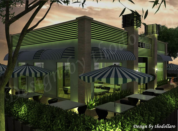 Motion design coffee shop for Small shop exterior design